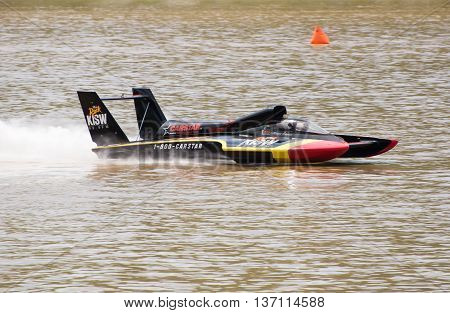 Madison Indiana - July 2 2016: Kevin Eacret drives the Leland Unlimited U-99.9 hydroplane in testing at the Madison Regatta in Madison Indiana July 2 2016.