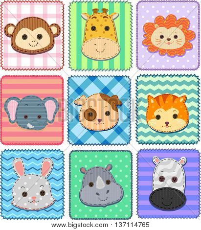 Illustration of an Assortment of Patches Featuring Cute Animals