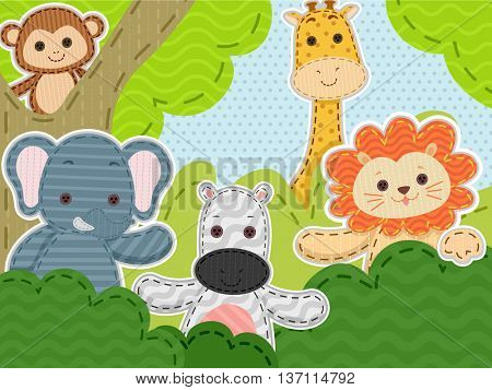 Illustration Featuring a Group of Stitched Safari Animals