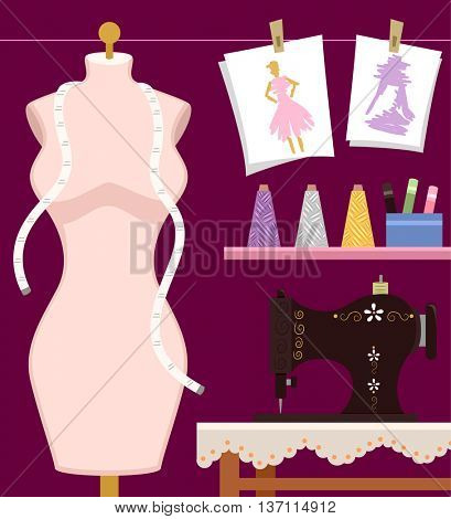 Illustration Featuring a Mannequin and a Sewing Machine
