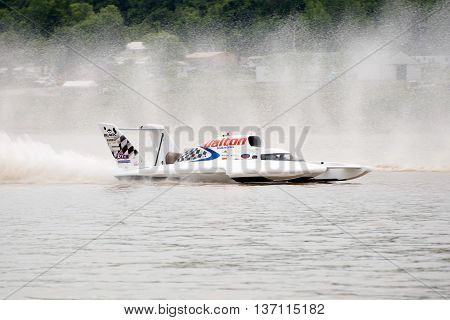 Madison Indiana - July 2 2016: Cal Phipps drives the Wiggins Racing U-27 in the Morgan Foods Unlimited Heat 1B at the Madison Regatta in Madison Indiana July 2 2016.