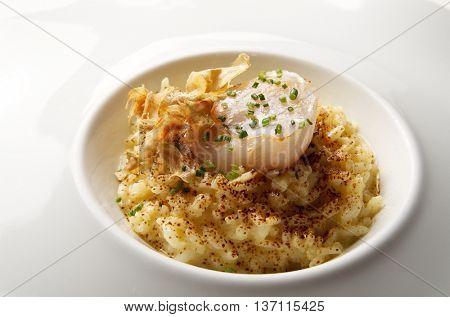 closeup of a cooked dish of saffron risotto and scallop