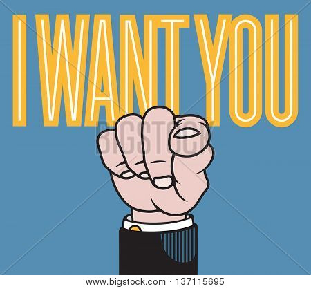 I want you vector illustration of hand with finger pointed at viewer based on classic printers pointer.