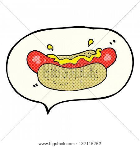 freehand drawn comic book speech bubble cartoon hotdog