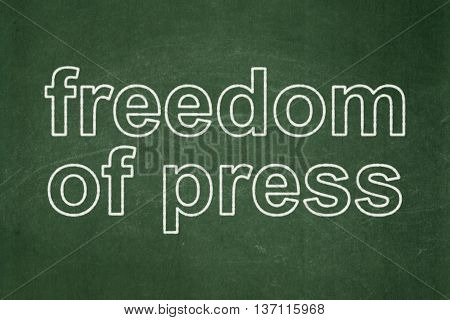 Politics concept: text Freedom Of Press on Green chalkboard background