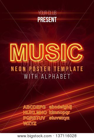 Poster Template with Glowing Neon Alphabet Kit