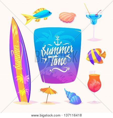 Set of cute summer elements. Vector cartoon elements. Vector design illustration for web design development.