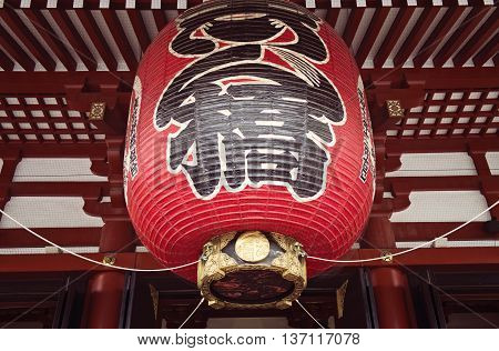 ASAKUSA, JAPAN - APRIL 24:The big lantern at the gate of Senso-ji Buddhism temple at Asakusa, Tokyo, Japan. Taken on April 24, 2016