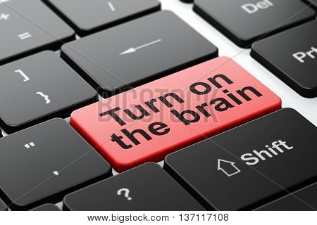 Learning concept: computer keyboard with word Turn On The Brain, selected focus on enter button background, 3D rendering