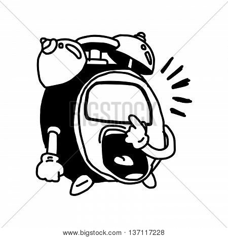 illustration vector doodle hand drawn of sketch alarm clock cartoon pointing his own dial with anger