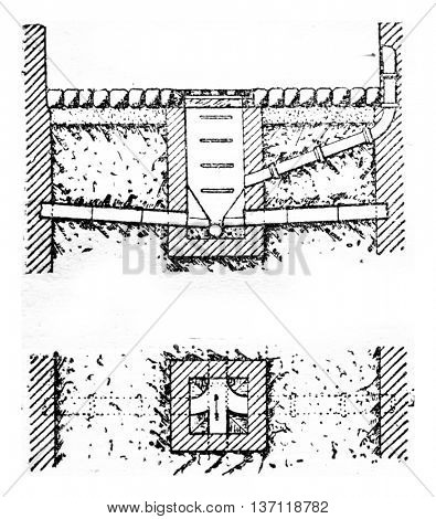 Cross section in AB, Blueprint, vintage engraved illustration. Industrial encyclopedia E.-O. Lami - 1875.