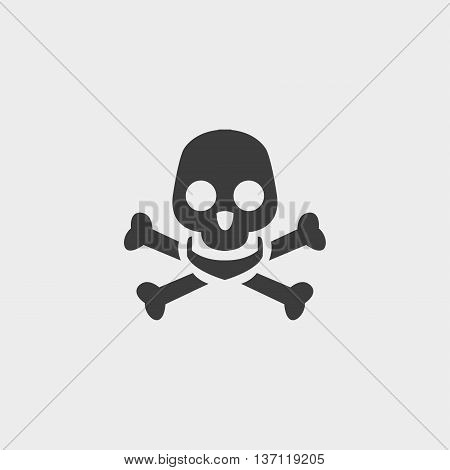Scull and bones isolated icon in a flat design in black color. Vector illustration eps10