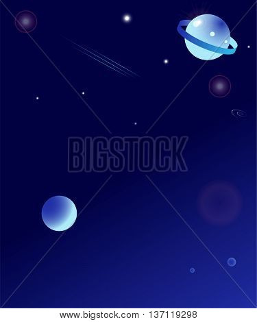 Stars, planets and comet in outer space.