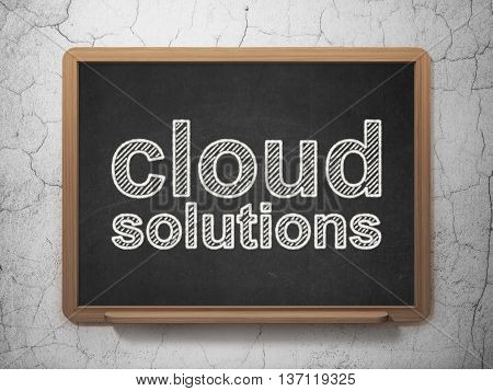 Cloud networking concept: text Cloud Solutions on Black chalkboard on grunge wall background, 3D rendering