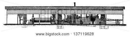 Smidt grinding plant, vintage engraved illustration. Industrial encyclopedia E.-O. Lami - 1875.