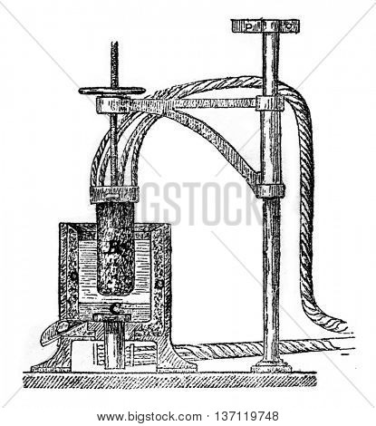 Herault apparatus for the manufacture of aluminum, vintage engraved illustration. Industrial encyclopedia E.-O. Lami - 1875.