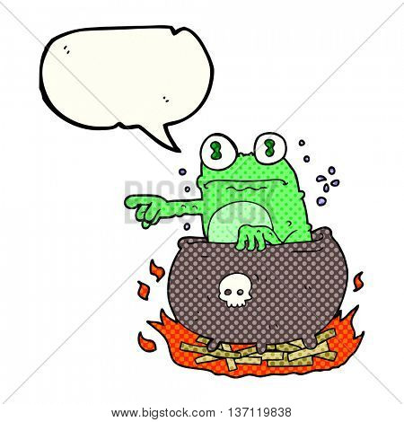 freehand drawn comic book speech bubble cartoon halloween toad in cauldron