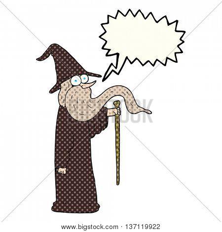 freehand drawn comic book speech bubble cartoon wizard