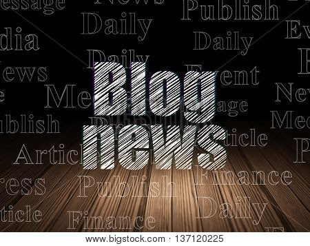 News concept: Glowing text Blog News in grunge dark room with Wooden Floor, black background with  Tag Cloud