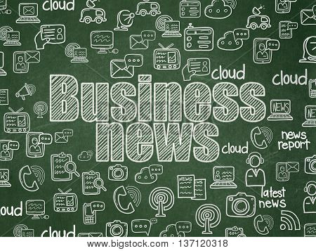 News concept: Chalk White text Business News on School board background with  Hand Drawn News Icons, School Board