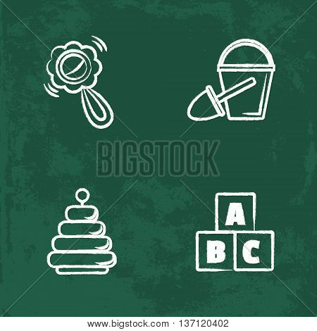 chalk icons set. Isolated vector chalkboard drawings. contour lines hand drawn. blocks, pyramid, bucket, shovel, rattle