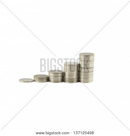 Coins Steps Thai Baht isolated on white