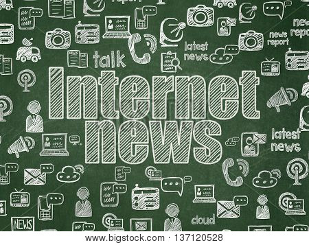 News concept: Chalk White text Internet News on School board background with  Hand Drawn News Icons, School Board