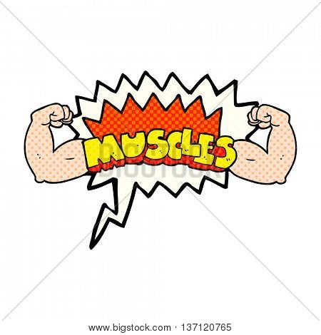 freehand drawn comic book speech bubble cartoon muscles symbol