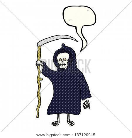 freehand drawn comic book speech bubble cartoon spooky death figure