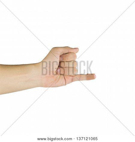 Injured index finger covered by plaster on white background