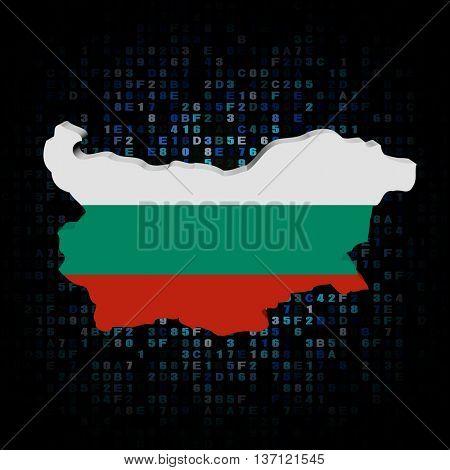 Bulgaria map flag on hex code 3d illustration