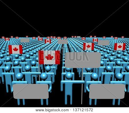 Crowd of people with signs and Canadian flags 3d illustration