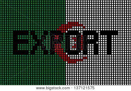 Export text over Algerian flag barrels illustration