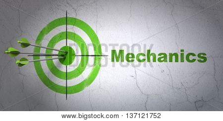 Success Science concept: arrows hitting the center of target, Green Mechanics on wall background, 3D rendering