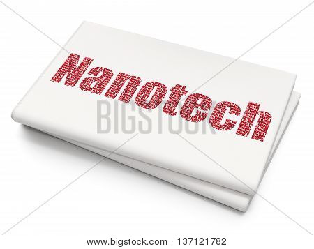 Science concept: Pixelated red text Nanotech on Blank Newspaper background, 3D rendering