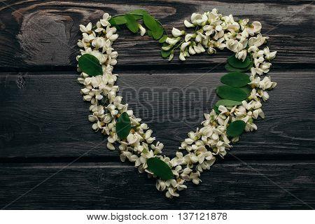 Heart Wreath Of White Acacia