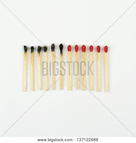 Set Of Burnt Match At Different Stages Isolated On White Background