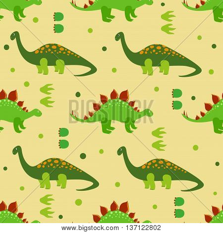 Cute dinosaurs seamless pattern. Vector background with cartoon dinosaurs. Kids design.