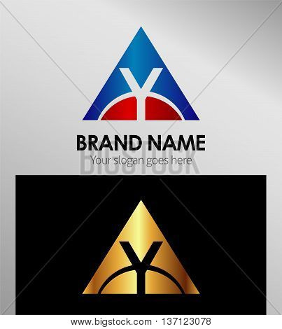 y letter or triangle button logo template design vector