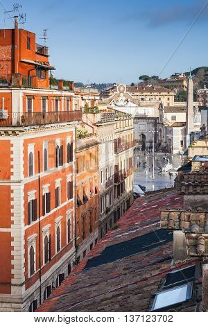 Old Rome, Italy. Via Del Corso View From Roof