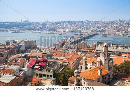 Istanbul, Turkey. Summer Cityscape With Bridge