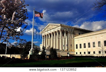 Washington DC - April 9 2014: The neo-classical facade of the 1935 United States Supreme Court on First Street SE