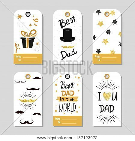 Fathers day set in gold and black. Collection of gift tags. Fathers day vector backgrounds. Best dad lettering. Sparkling cards, fathers day design.