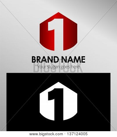 Vector sign spherical number 1 template design vector