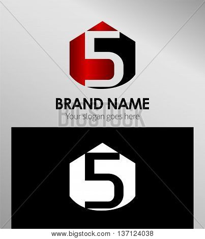 Vector sign spherical number 5 template design vector