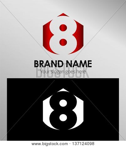 Vector sign spherical number 8 template design vector