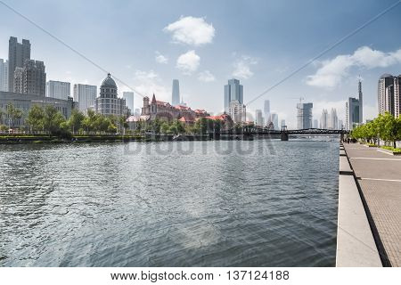 tianjin cityscape beauty riverside of the haihe river China