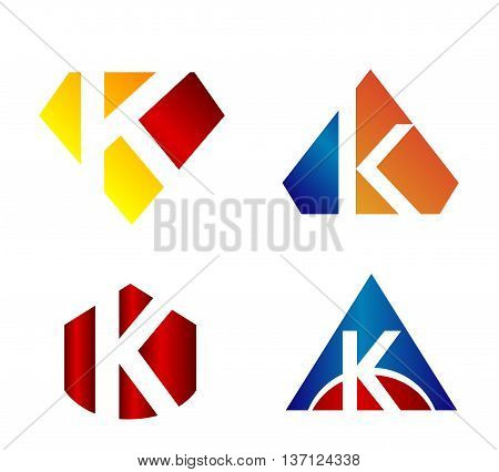 Vector illustration of abstract icons based on the letter k