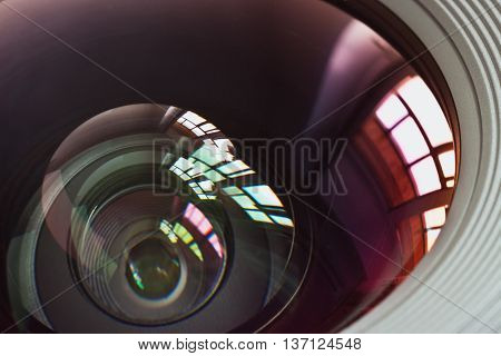Objective lens with reflections of light sources closeup