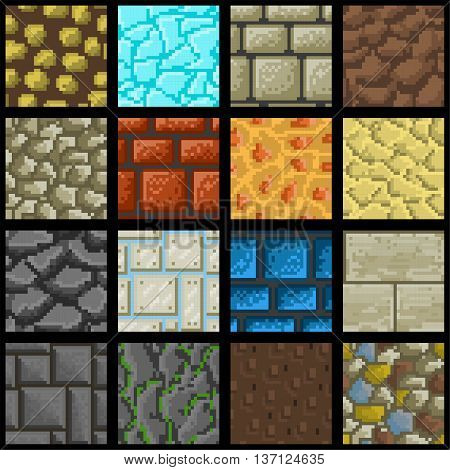 Collection of sixteen seamless pixel ground textures for game platforms. Vector illustration